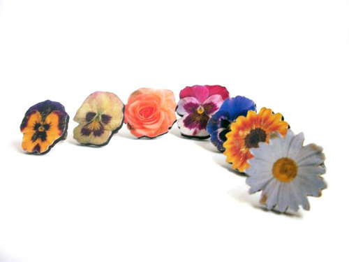 Flower Ring, Wooden Flower Rings, Statement Ring, Pansy, Daisy, Sunflower, Rose Ring