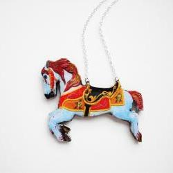 Carousel Necklace - Wooden - Merry Go Round - Funfair - Carousel Horse