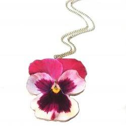 Pansy Flower Necklace, Pansy Wooden Flower Necklace By Gossimar Wings, Flower Necklace, Pink Pansy Necklace