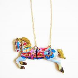 Carousel Horse Necklace, Horse Necklace, Wooden Necklace Pendant, Merry go Round, Funfair Necklace, Carousel Necklace