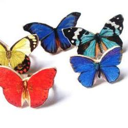 Wooden Butterfly Ring, Butterfly Ring, Summer Ring, Red Butterfly, Blue Butterfly, Green Butterfly, Handmade