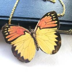 Take Me To The Sun Wooden Butterfly Necklace Pendant