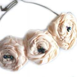 Perfect Peach Statement Fabric Flower Necklace