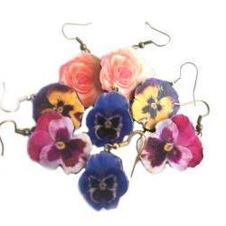 Flower Earrings, Wooden Flower Earrings, Pansy Earrings, Rose Earrings, Dangle